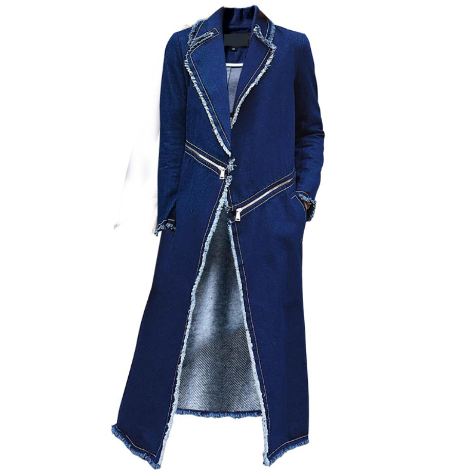 New Spring Autumn Women   Trench   Coat Fashion Solid Slim Jeans Coat For Women Large Denim   Trench   Outerwear