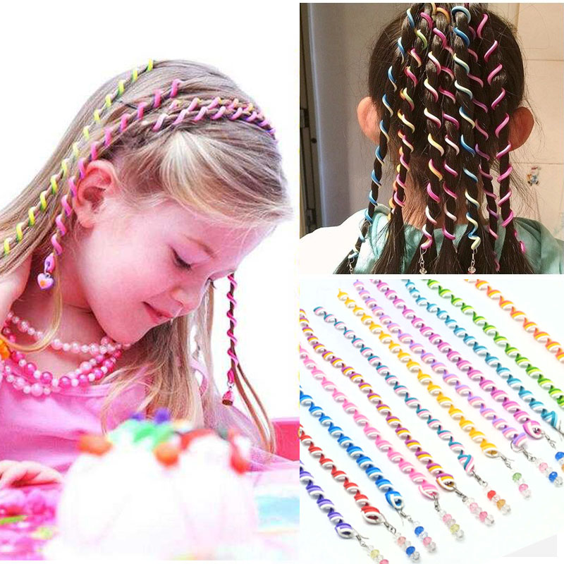6pcs/lot Rainbow Color Headband Hair Band Crystal Long Elastic Hair Bands For Headwear Cute Girls Random Color Hair Accessories