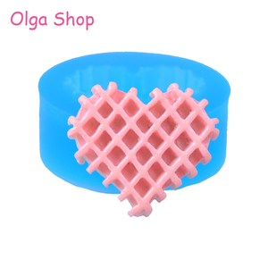 QYL399 21.1mm Heart Waffle Cookie Silicone Mold - Waffer / Wafer Biscuit Mold Cupcake Topper Fondant Candy Resin Jewelry Charm