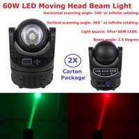 2Pack Led Moving Beam Lights Ayrton MagicDot R 60W RGBW 4IN1 Color Mixing Beam Scanner O S R A M Lamp Bulb 18 Channels Fast Ship