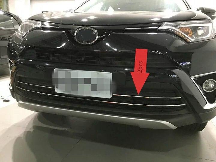 KOUVI 2 pièce/ensemble 304 acier inoxydable Chrome garniture de calandre avant pour 2016 Toyota Rav4 Rav 4 accessoires de voiture de style