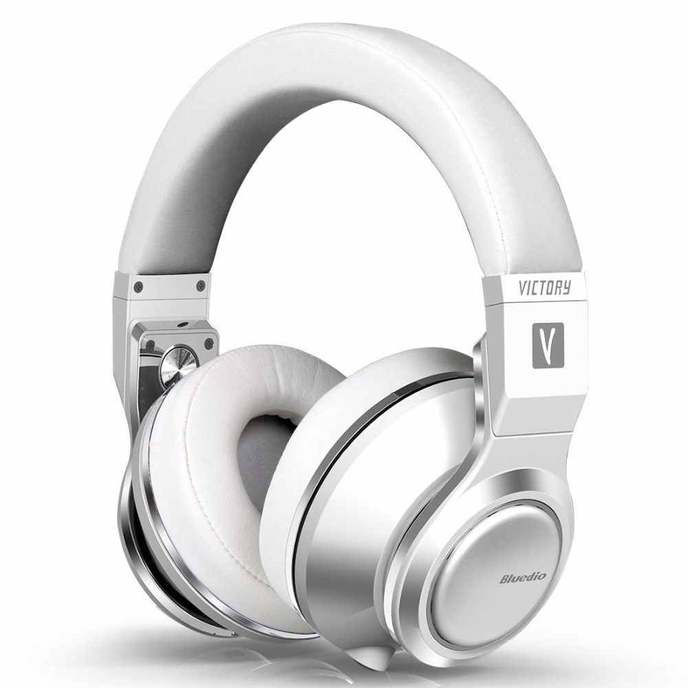 2017 Original Bluedio V (Victory) Wireless Bluetooth Headphones with PPS 12 drivers and microphone supports APTX Headset(White) original bluedio ufo plus 3d bass bluetooth headset patented 12 drivers hifi wireless headphones with microphone for music phone