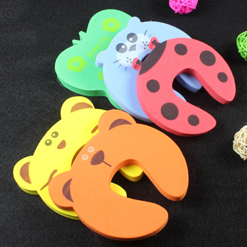 5 Pcs/Set Children Safety Door Card Clamp Cartoon Animal Pinch Baby Kids Finger Protector Hand Security Stopper Clip FP8 smiley face door window children safety lock band 2 pack set