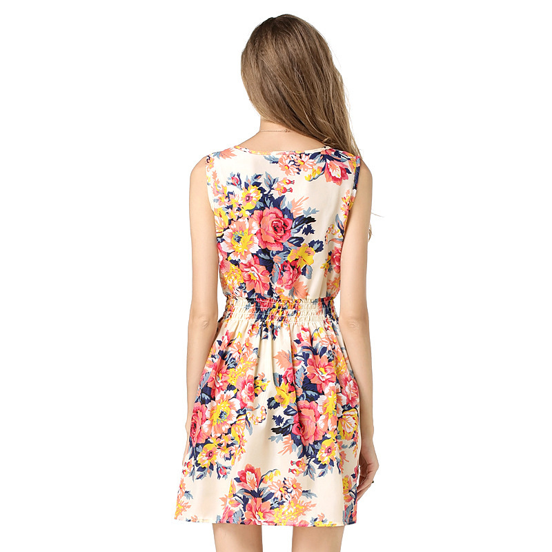2019 Summer Women Dresses Vest Print Sleeveless Floral Chiffon Sexy Party Dress in Dresses from Women 39 s Clothing