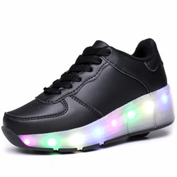 Kids Roller Shoes with LED Children Wheel Sports Shoes Fashion Boy & Girls Casual Shoe Breathable Kids Flash Roller Sneakers