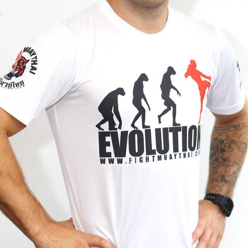 2018 Baru Cepat Kering Pria T-shirt Tiger Printing MMA Fighting Polyester UFC Muay Thai Sanda Fashion T Shirt Hitam dan Putih