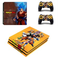 цена на PS4 Pro Skin Sticker Decal for Sony PlayStation 4 Console and 2 Controller PS4 Pro Skin Sticker Vinyl - Dragon Ball Super Goku