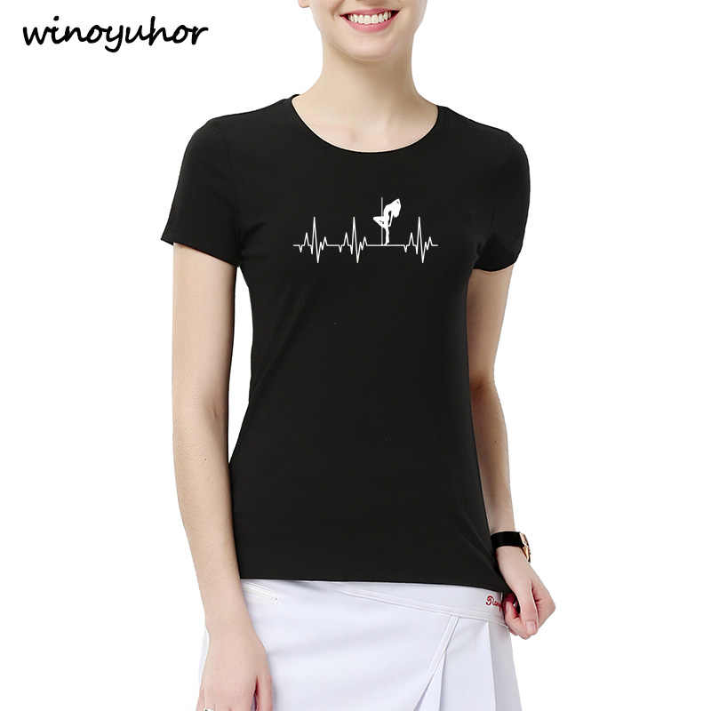 5f2edd818 Heartbeat Of Pole Dance T Shirt Women Summer New Fashion Short Sleeve  Cotton T-shirts