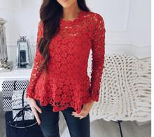 2019 Spring Summer lace Tops Lolita blusas Openwork Crochet lace shirt Plus size clothing Long sleeve Casual Women openwork plus size lace dress