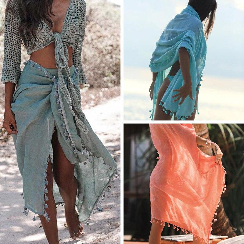 2019 Sexy Beach Cover Ups Tassel Wrap Skirt Bikinis Swimsuit Female Swimwear Women Solid Pareo Summer Beach Wear Chiffon Sarongs