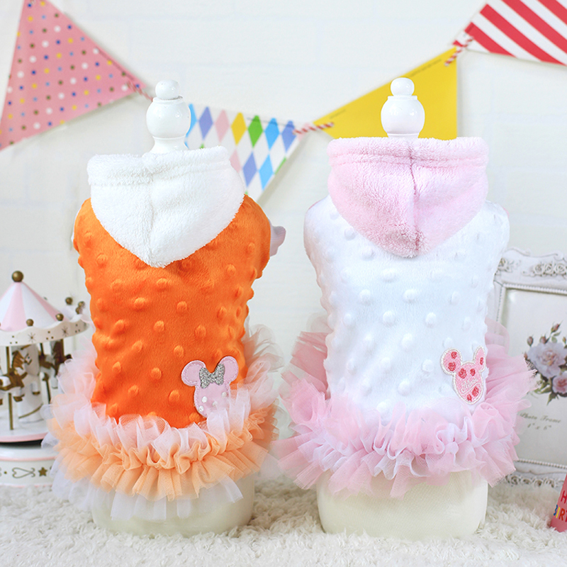 Lovely Dog Hoodie Warm Pet Cat Tutu Dress Princess Apparel Puppy Kitten Clothes Poodle Coat