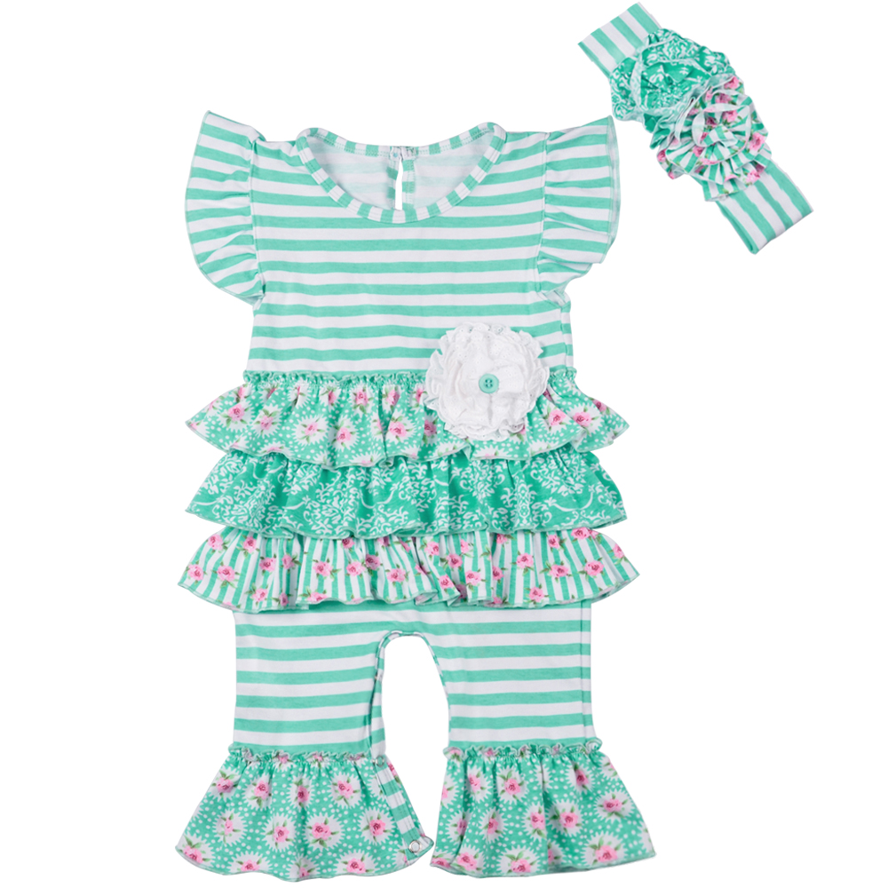 New Fashion Toddler Cotton Rompers Newborn kids Summer Girl Striped Cute Suit Flower Summer Clothes Matching Headband GPF801-058