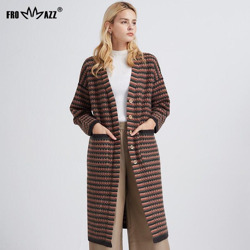 FROMMAZZ 2018 NEW Long Cardigan Female Long Sleeve Plus Size Cardigan Women Sweater Pockets Women Knitted Jacket Tops FS8824