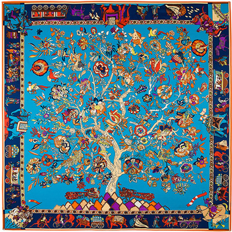 Twill Silk Γυναικείο μαντήλι 130 * 130 cm Euro Bohemia National Wind Tree Print Square Scarves High Quality Gift Fashion Silk Shawl