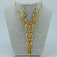 62 CM larga Árabe pendientes del collar de las mujeres de Oro Chapado Joyas de Oriente medio Egipto/Sudán y Nigeria y Etiopía joyería #002612