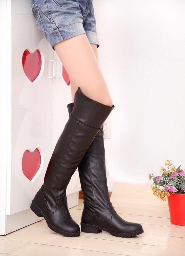 2015 Neue Mode Frauen Angriff Auf Titan Lange Stiefel Cos Allen Stiefel Flache Ferse Stiefel Plus Größe 35-43 #3139 Moderater Preis
