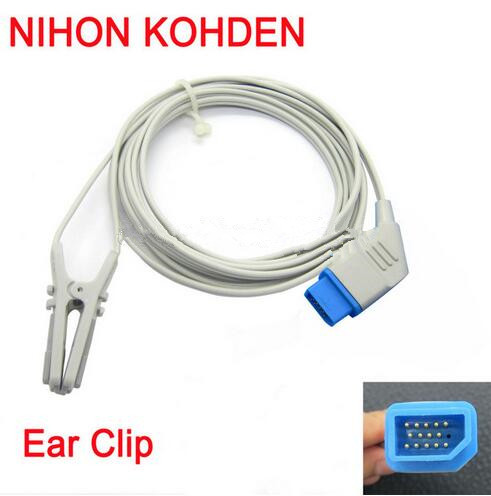 Compatible For NIHON KOHDEN BSM2301 DB14 PIN Animal/Veterinary Earclip SPo2 Sensor Spo2 Probe Monitor Sensor Oxygen Probe 3M/9ft mindray neonate wrap spo2 sensor length 3 meter 5pin spo2 probe medical tpu cable