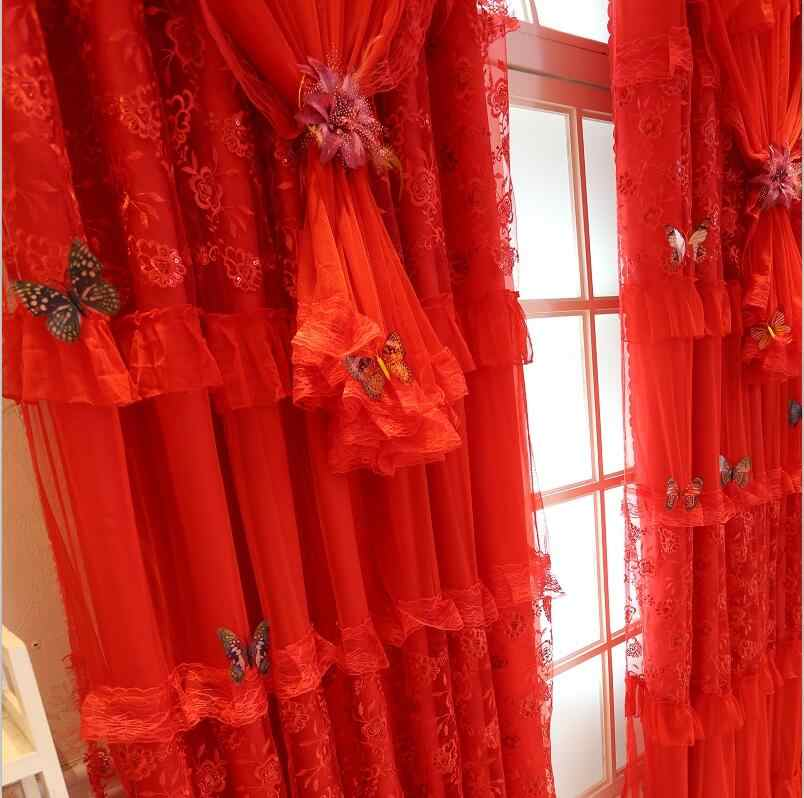 Embroidery Lace Cortinas Luxury Red curtains for living room Joyous Wedding  blackout Curtain set cortina rideaux pour le salon