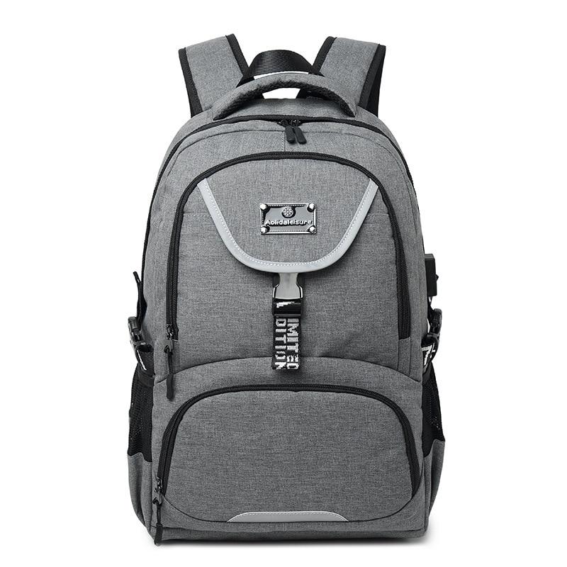 2019 Nieuwe Mode Heren Rugzak USB Opladen Laptop Reistassen Oxford Tiener Student Grote Capaciteit Dubbele Schouder Schooltas - 2
