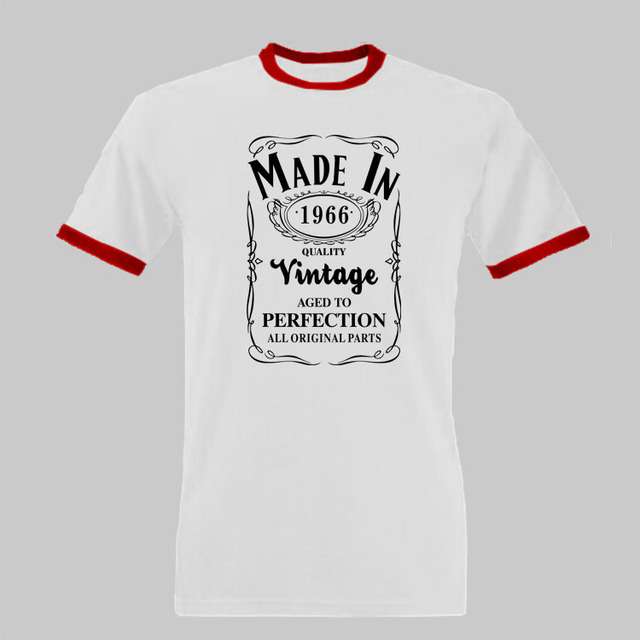 Made In 1966 T Shirt Born 50th Year Birthday Age Present Vintage Funny Mens Women Christmas Gift Novelty Ringer Tee