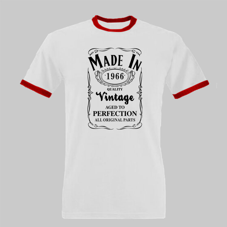 Made in 1966 T Shirt Born 50th Year Birthday Age Present Vintage Funny Mens Women Christmas Gift Shirt Novelty Mens Ringer Tee