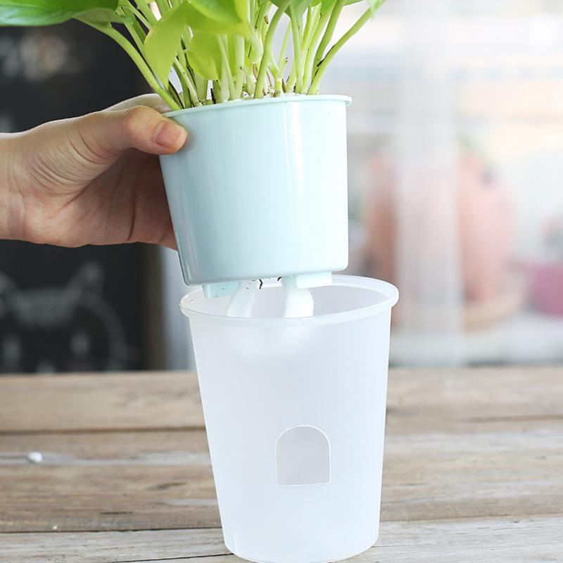Brief ABS Pure Color Transparent Self Watering Planter