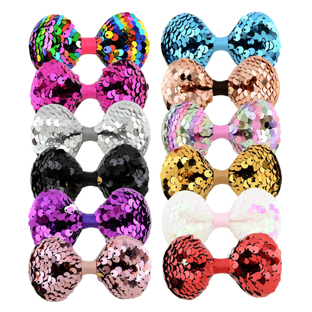 3.14 Inches Girls Shining Multi-layer Hairpins Sequin Hairbows For Girls Barrettes Baby Hair Grips Clips Kids Hair Accessories