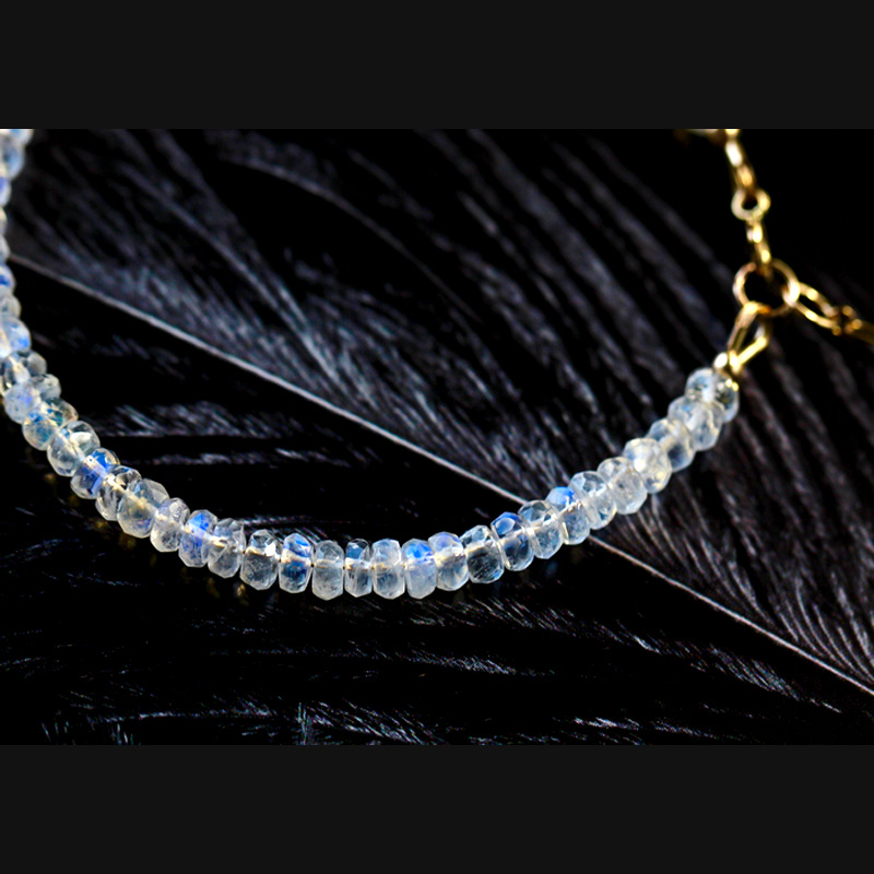 Браслет из натурального лунного камня с гранеными бусинами, браслет с мороженым, синий светильник, мигающий браслет для девушек, ювелирные изделия