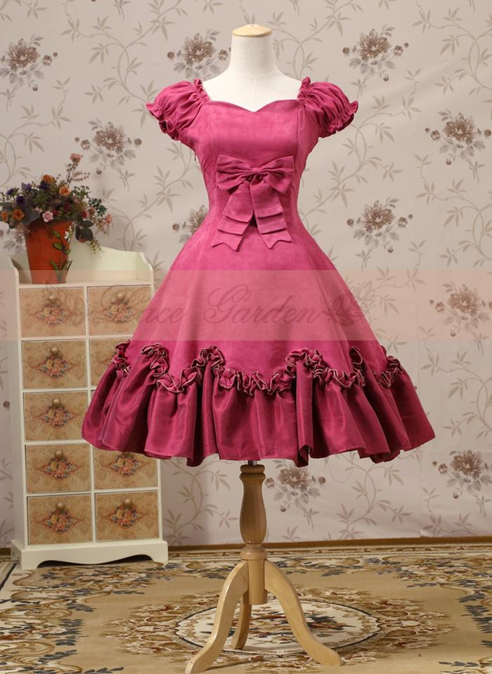 Simple Et Manches Courtes Robe Palais Vintage À Rose Élégant Bal Volants Arc De Hepburn Rouge Dames Lolita Princesse Foncé gTqga