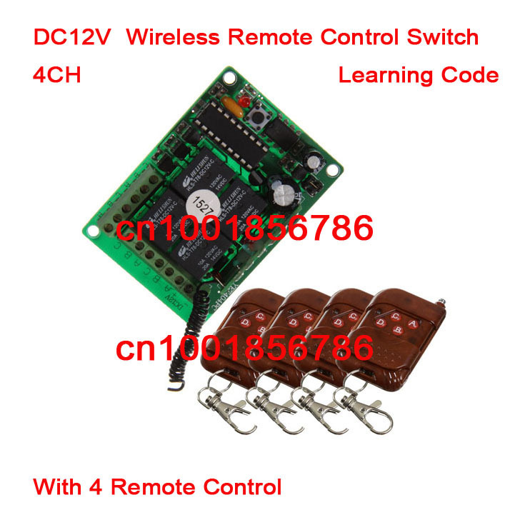 Free shipping 12V 4ch Momentary Toggle Latched RF Wireless Remote Control Switch System Receiver &4 Transmitter Learning Code 3v 3 7v 5v rf remote control switch mini receiver mini 7 transmitter learning code momentary toggle latched adjustable