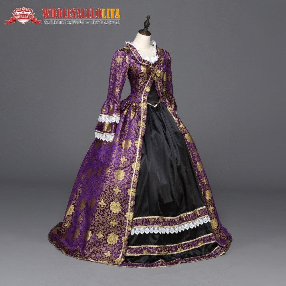 Renaissance gothique robe robe Vampire reconstitution théâtre vêtements Halloween violet nœud & dentelle robe suivre-longueur robe Plue taille