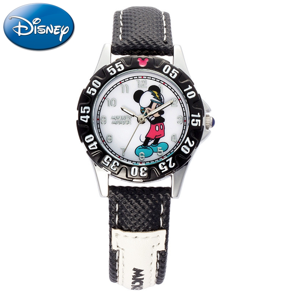 Boys Mickey Mouse Sports Watch Disney Kids Dream Child Play Leather Quartz Waterproof Watches For Children Gift Montre Enfant