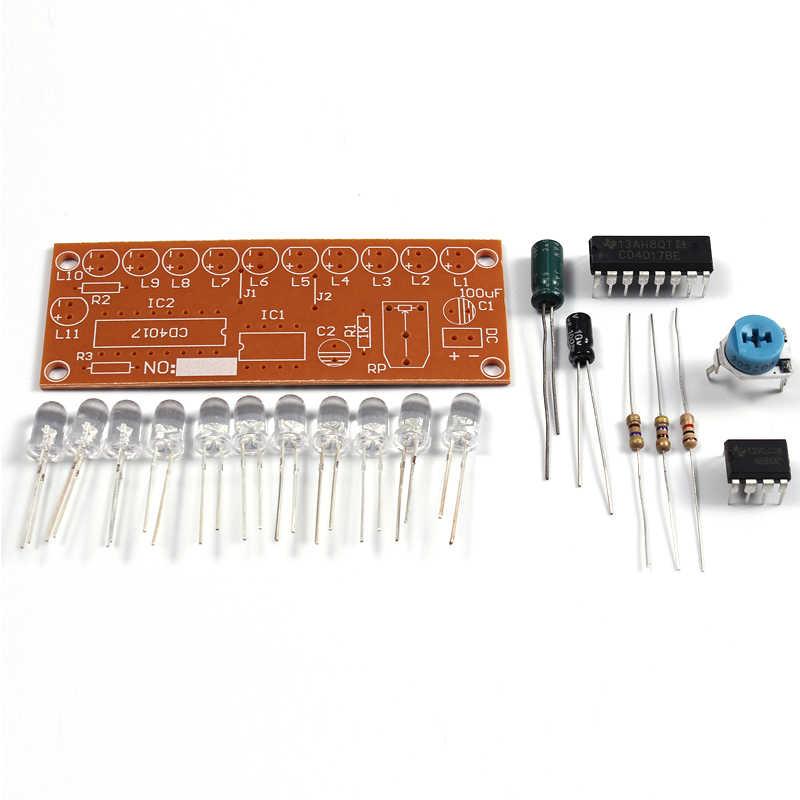 NE555 Elektronik DIY Kit CD4017 Lampu Air Mengalir Lampu LED Modul DIY Marquee Lampu Putih Berjalan Kas LED Elektronik DIY kit