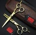 Envío RÁPIDO! profesional herramientas de Peinado KASHO 5.5/6 pulgadas de Diamantes de oro tijeras peluquería peluquería tijeras de pelo 440C