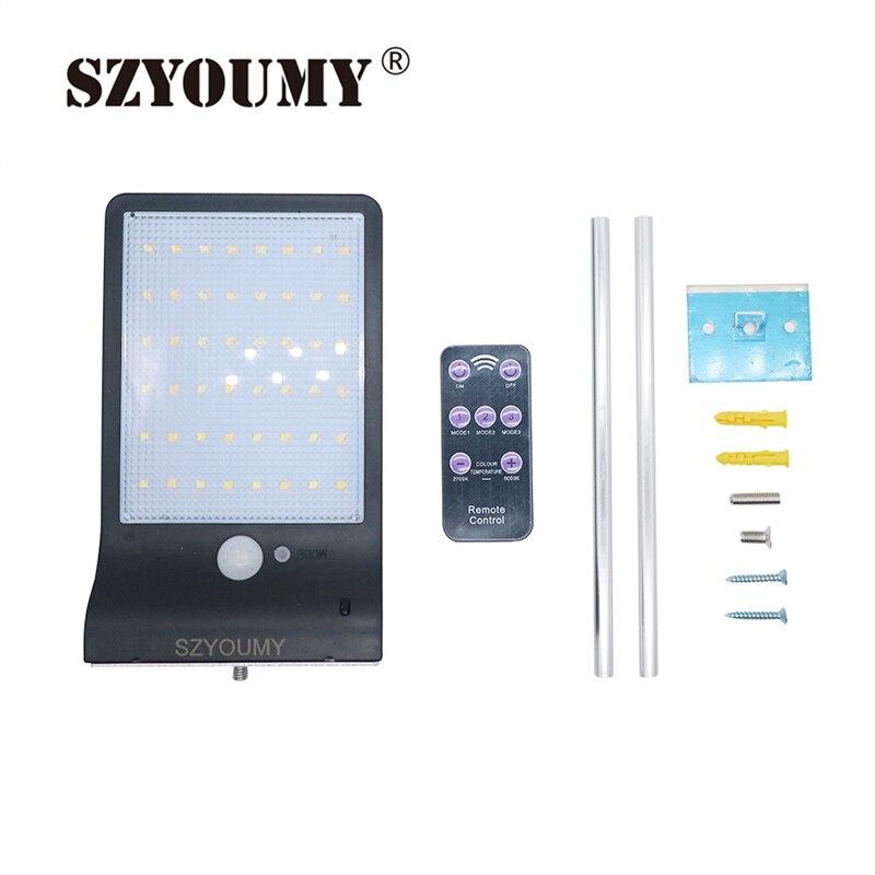 SZYOUMY Solar Power 48 Led Solar Light PIR Motion Sensor 7 Mode White Wall Garden Light