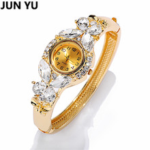 JUNYU Fashion Gold Watches Bracelet Watch Women Butterfly Gemstone Classic Alloy Wristwatch Women Dress Watches New Quartz Watch