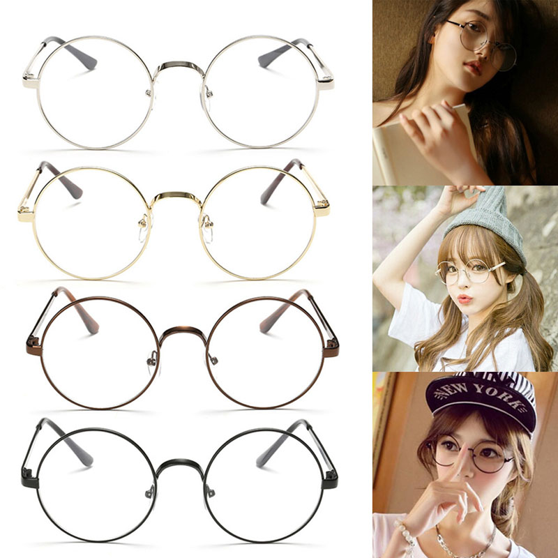 9a58ca84e3 Chic Eyeglasses Retro Big Round Metal Frame Clear Lens Glasses Nerd  Spectacles Black