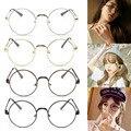 Chic Óculos Retro Grande Rodada Metal Frame Óculos de Lente Clara Nerd Óculos Preto, prata, ouro, cobre
