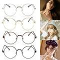 Chic Gafas Retro Redondo Grande de Metal Gafas Nerd Frame Lente Transparente Gafas Negro, plata, oro, cobre