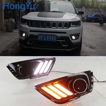 Car flashing LED DRL Daytime Running Light Daylights for Jeep Compass 2016 2017 2018 2019 With Yellow Turn Signal lamp
