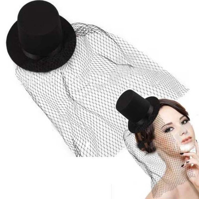Black Mini Top Hat Fascinator Veil Hair Clips For Women Girls Sexy Hairpins  Headwear Party Dress bb8c5a7e2c6