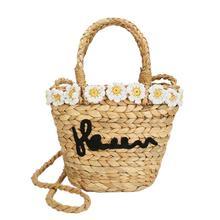Flower Straw Rattan Braided Woven Bag Handbag Fashion Beach Travel Shoulder Messenger Storage Tote Hand Bag Crossbody Women Bags