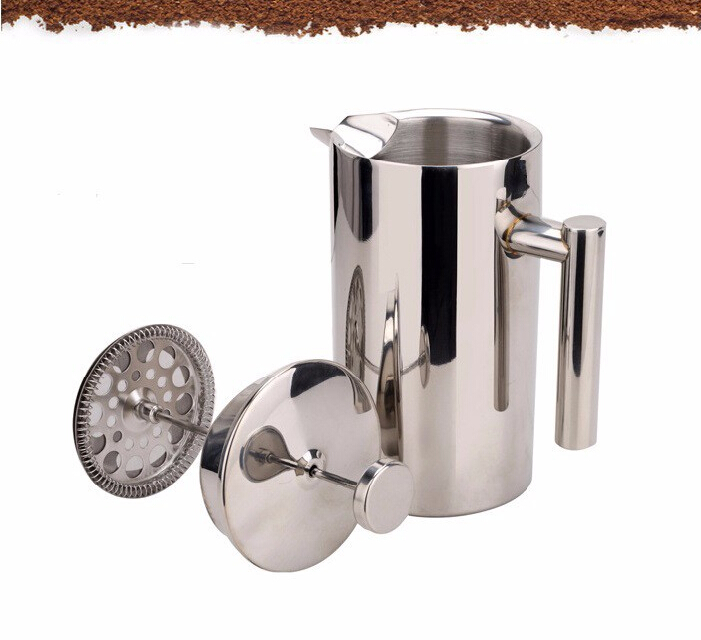 1pc 350/800/1000ml Double Wall stainless steel french press pot filter coffee plunger Anti-scald design Tea Maker