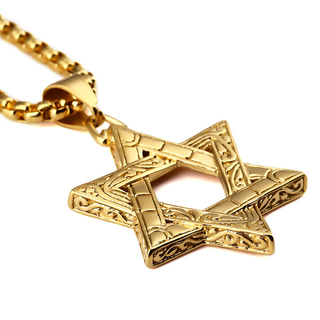 154c3e99ced87 Punk Hip Hop Vintage Mysterious 316 Stainless Steel Jewish Star Of David  Pendants 27.5