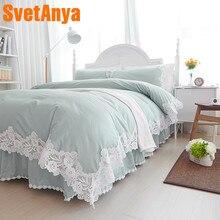 Svetanya кружева принцесса постельные принадлежности наборы хлопка постельное белье Полный queen King size пододеяльник Покрывало наволочки