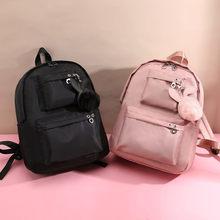 Fashion 2019 Backpack Women Preppy School Bags For Teenagers Female Nylon Travel Girls Fur Ball Mochilas