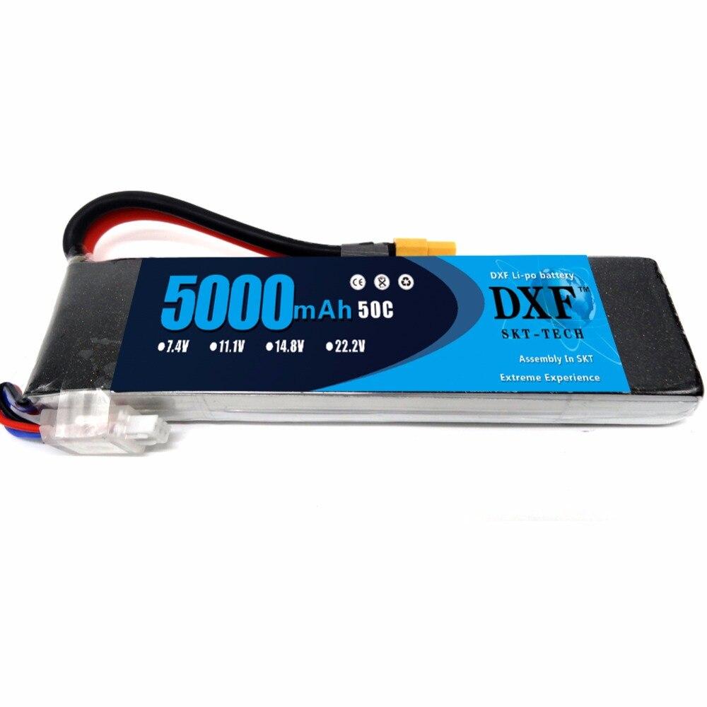 DXF RC Lipo 2S Battery 7.4V 5000mah 50C Max 100C XT60 Plug For RC Bateria Drone AKKU Helicopter Car Truck Car Quadcopter FPV UAV mos rc airplane lipo battery 3s 11 1v 5200mah 40c for quadrotor rc boat rc car