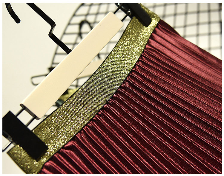 Stretch High Waist Long Pleated Skirt 17