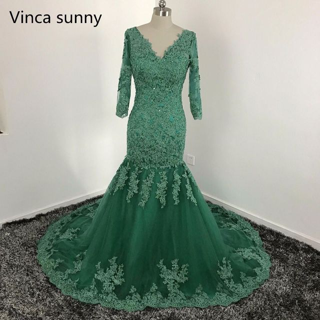 Green Appliques Lace Mermaid Evening Dresses Sexy V-Neck Backless Formal  Prom Party Gowns Elegant Long Sleeve Evening Dress 2018 006fbbdf0a0c