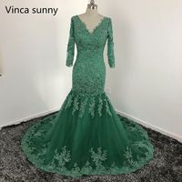 Green Appliques Lace Mermaid Evening Dresses Sexy V Neck Backless Formal Prom Party Gowns Elegant Long